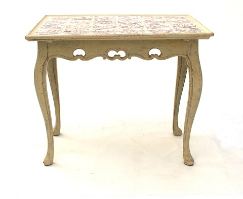 Tile table, gray/white decorated with dutch tiles. 