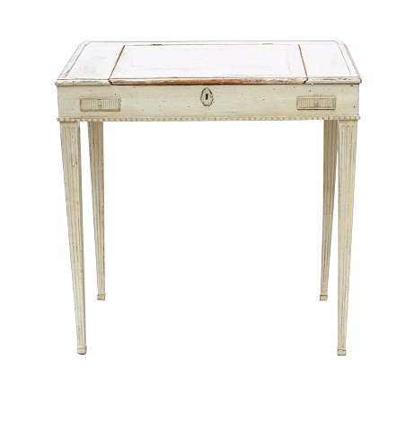 Writing desk, grey/white decorated. Manufactured 