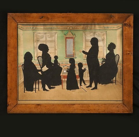 A silhouette painting: Each figure with initials 