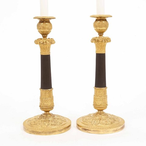 A pair of early 19th century gilt bronze 