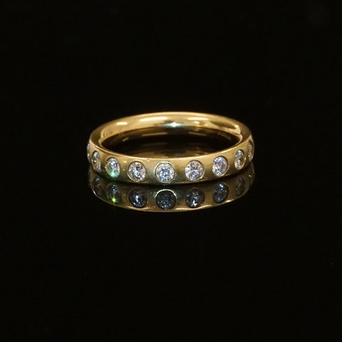 Georg Jensen 18kt guld alliancering med ni 